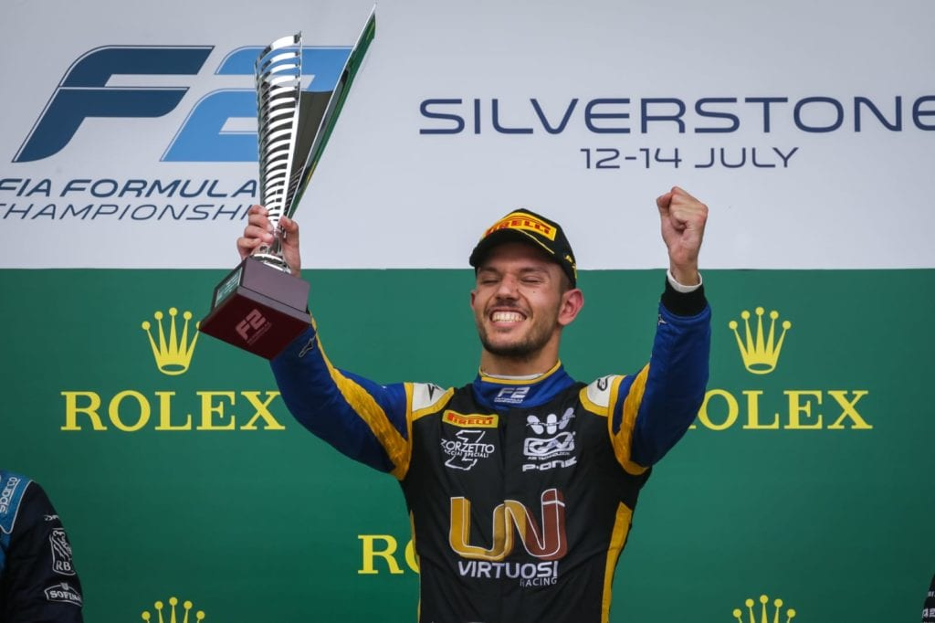 Luca Ghiotto on the podium at Silverstone