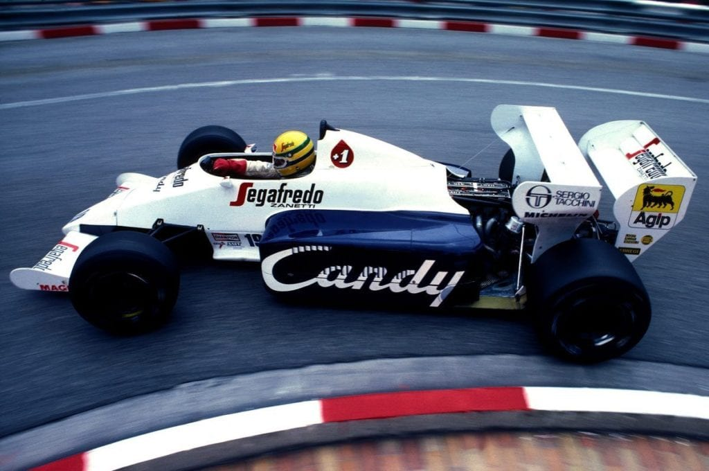 Senna driving his Toleman at Monaco 1984